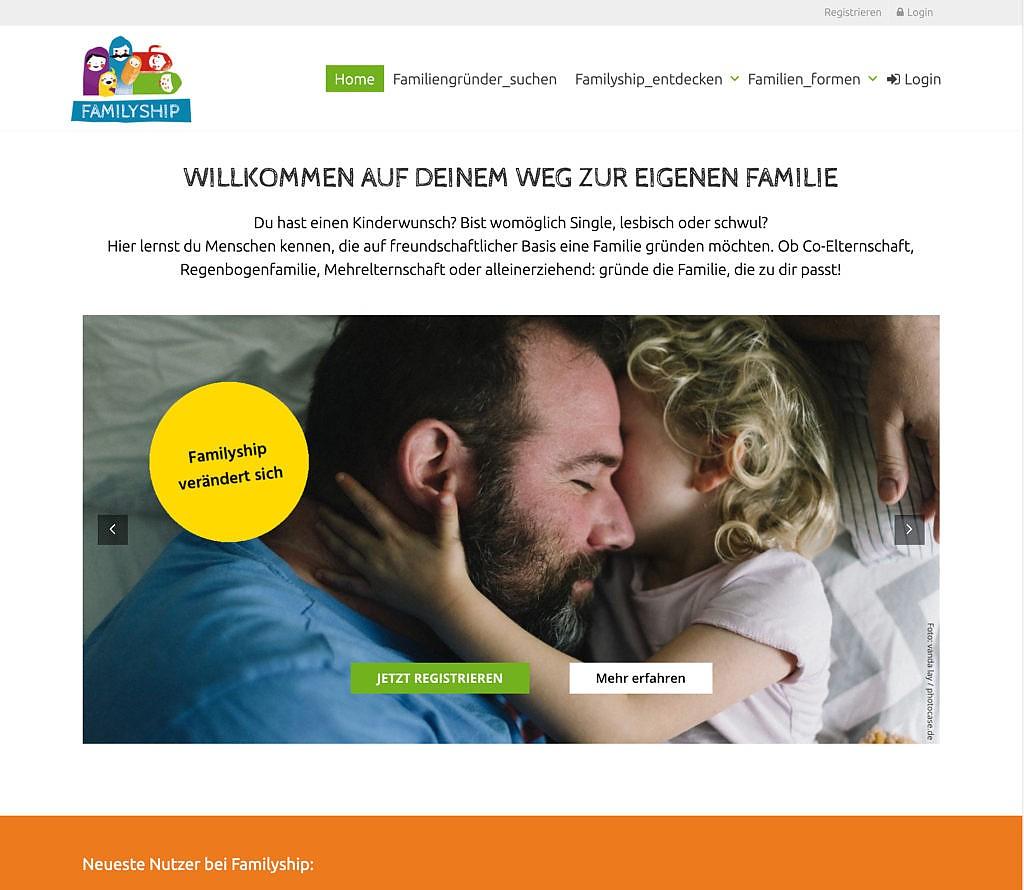 Alte Webseite von Familyship